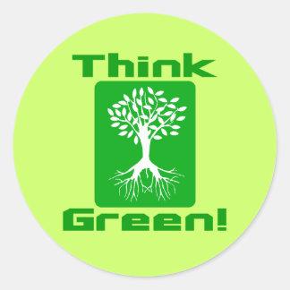 Think Green! Round Stickers