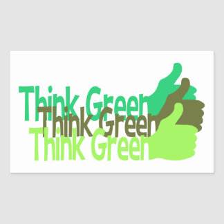 Think Green stickers, customizable