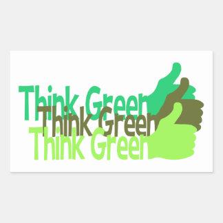 Think Green stickers, customizable Rectangular Sticker
