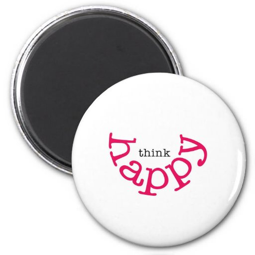 Think Happy (red smile) Fridge Magnets
