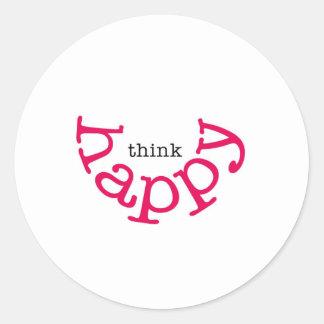 Think Happy (red smile) Round Sticker