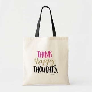 THINK HAPPY THOUGHTS Pink Gold Personalized Custom Tote Bag