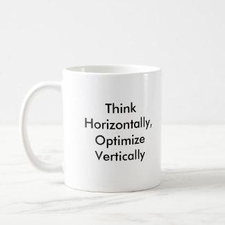 Think Horizontally, Optimize Vertically Basic White Mug