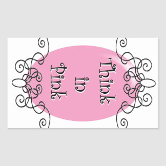 Think in Pink Rectangular Stickers