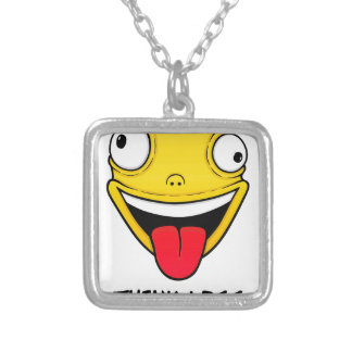 Think less, stupid more silver plated necklace