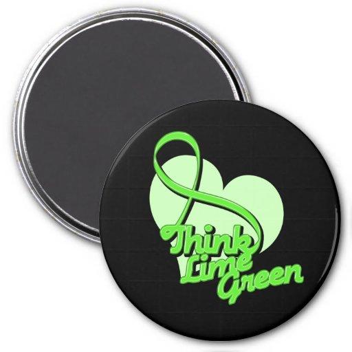 Think Lime Green Lymphoma Refrigerator Magnet