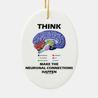 Think Make The Neuronal Connections Happen (Brain) Ceramic Ornament