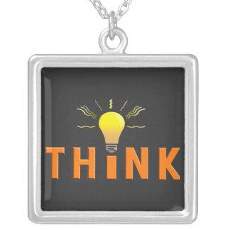 Think Square Pendant Necklace
