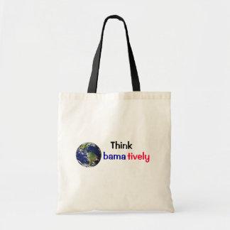 Think Obamatively_world, black, blue, red Budget Tote Bag