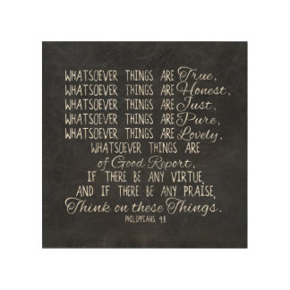 Think on These Things Christian Bible Scripture Wood Wall Art