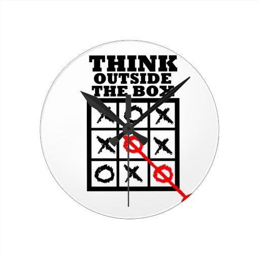 Think Outside The Box Round Wallclock
