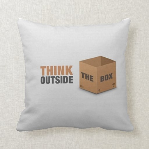 Think outside the Box Throw Pillows