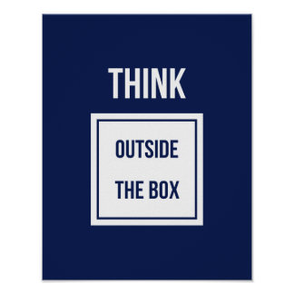 Think outside the box motivational blue poster