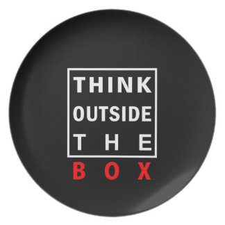 think outside the box red smart text quote clever plate