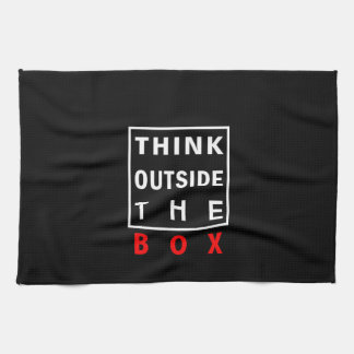 think outside the box red smart text quote clever tea towel