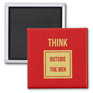 Think outside the box red square magnet