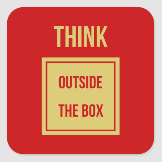 Think outside the box red square sticker