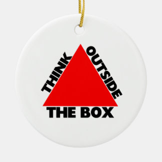 Think Outside The Box With Triangle Double-Sided Ceramic Round Christmas Ornament