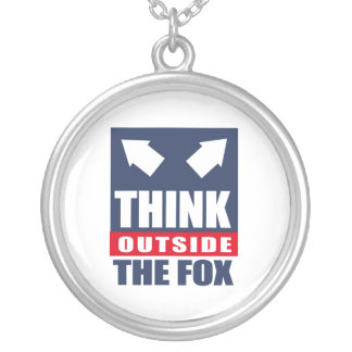 Think outside the fox round pendant necklace