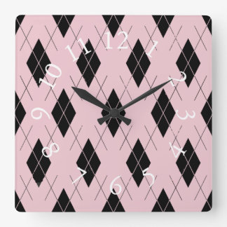 Think-Pink-Argyle-Stylish-Feminine-Multi-Shapes Square Wall Clock