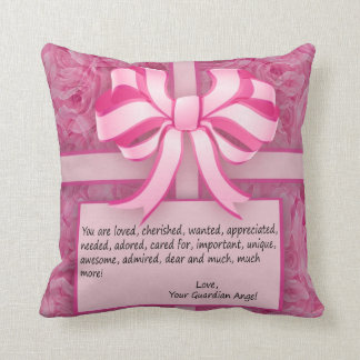 Think Pink Inspirational Message with Roses Cushion