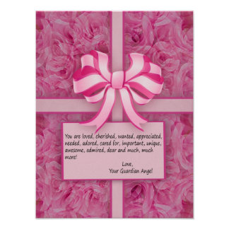 Think Pink Inspirational Message with Roses Poster