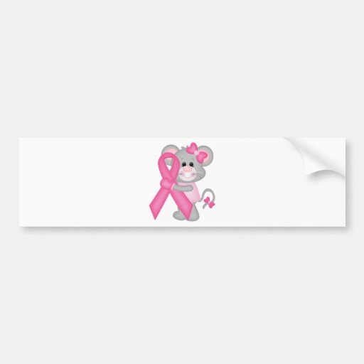 Think Pink  Mouse-cancer-surviver -ribbon Bumper Stickers
