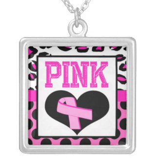 Think Pink Square Pendant Necklace