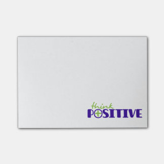 Think positive blue post it notes