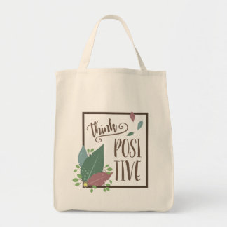 Think positive motivation feather grocery bag