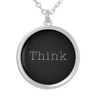 Think Quotes Inspirational Thought Quote Round Pendant Necklace