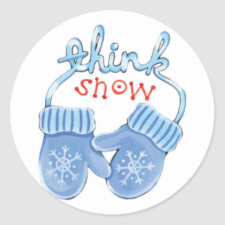 Think Snow Mittens Classic Round Sticker