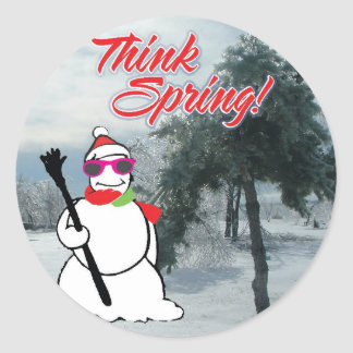 think spring with snowman classic round sticker