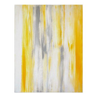 'Think Straight' Grey and Yellow Abstract Poster