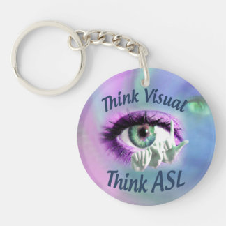 Think Visual Think ASL circle keychain
