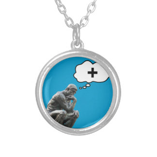 Thinker Statue - Think Positive Round Pendant Necklace
