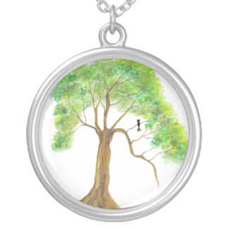 Thinking About Spring Round Pendant Necklace Art