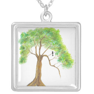 Thinking About Spring Square Pendant Necklace Art