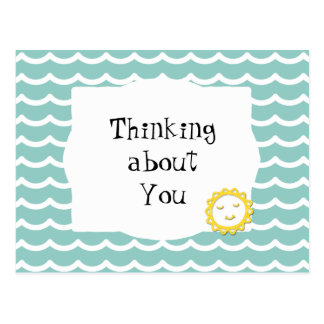 Thinking About You Teal Waves & Sunshine Postcard