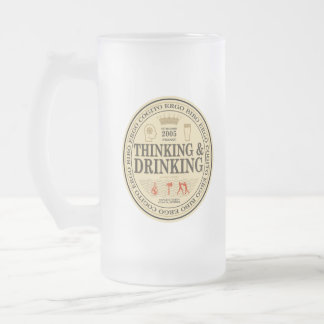 Thinking and Drinking Frosted Glass Mug
