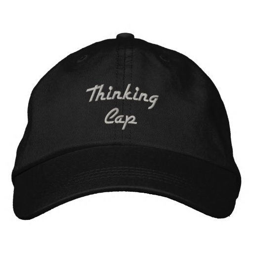Thinking Cap Black with White Embroidery Embroidered Baseball Caps