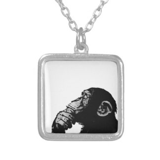 Thinking Chimp Square Pendant Necklace