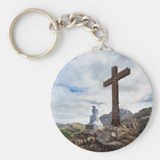 Thinking Christ - Castellazzo mount, Italy Basic Round Button Key Ring