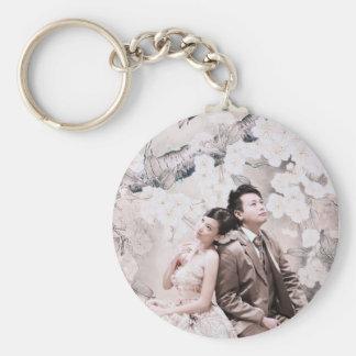 thinking couple basic round button key ring