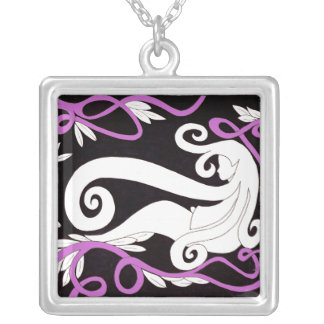 Thinking Girl Facing Left Square Pendant Necklace