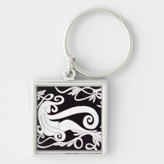 Thinking Girl Silver-Colored Square Key Ring