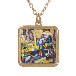 Thinking Hao Ping oriental abstract woman painting Necklaces