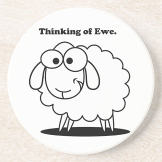 Thinking of Ewe Lamb Sheep Cute Cartoon Coaster