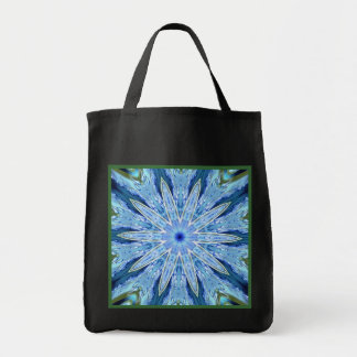 Thinking of You Blue Kaleidoscope Black Reusable Canvas Bags