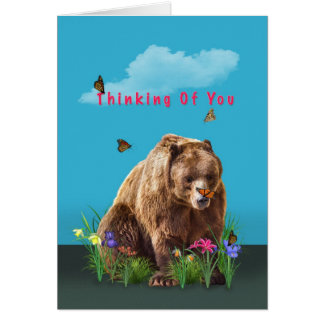 Thinking of You Card, Bear and Butterflies Greeting Card